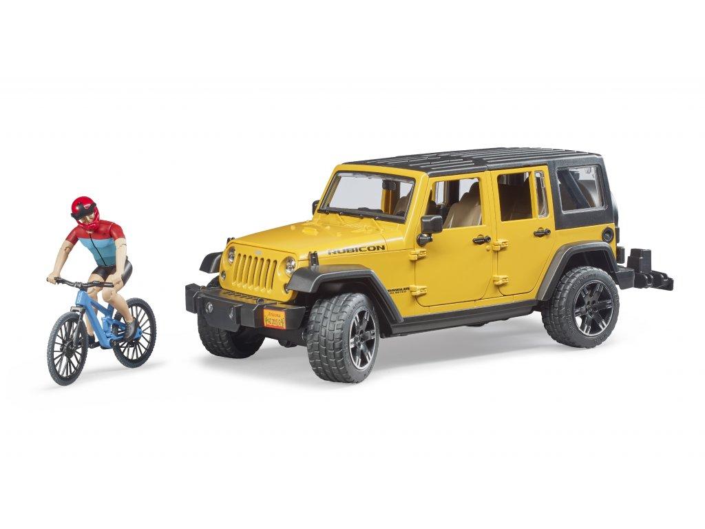 BRUDER 2543 Auto Jeep Wrangler Rubicon  s figurkou - cyklista