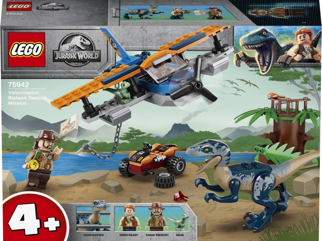 LEGO 75942 Jurassic World Velociraptor: Záchranná mise s dvouplošníkem