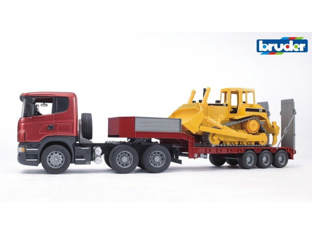 BRUDER 3555 Červený návěs s buldozerem SCANIA R
