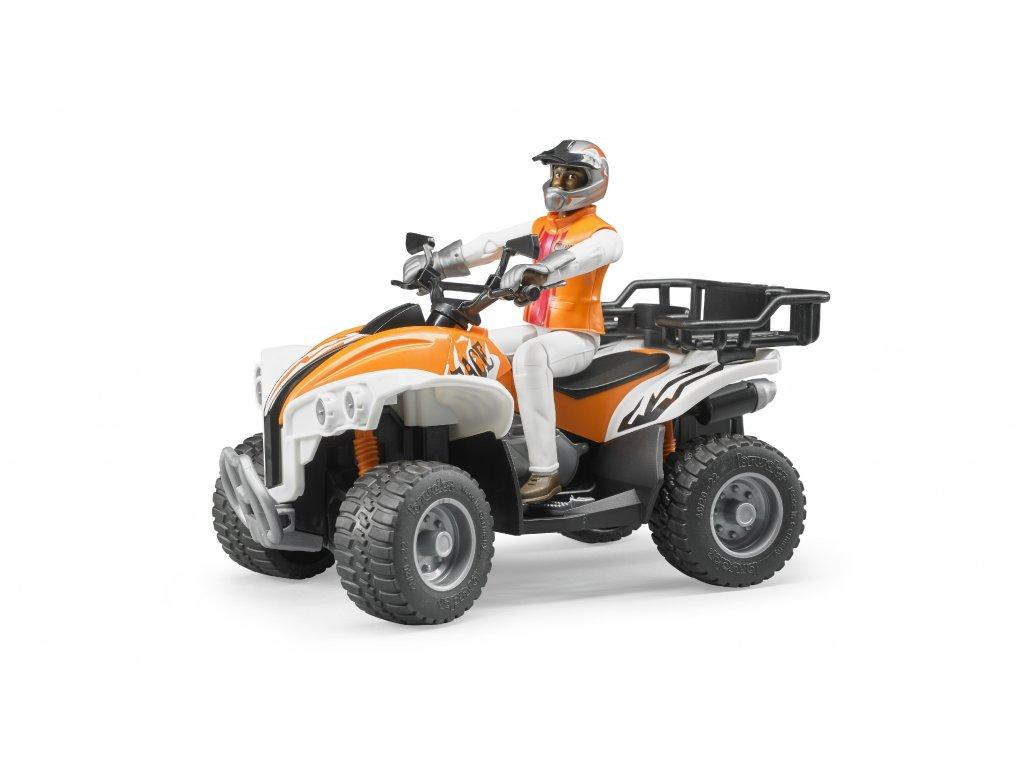 BRUDER 63000 Oranžová čtyřkolka s řidičem