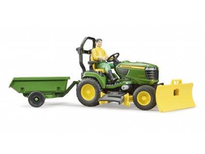 BRUDER 62104 bworld John Deere zahradní traktor ,vozík, figurka