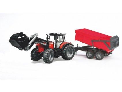 Traktor Massey Ferguson 7480 s nakladačem a červeným valníkem