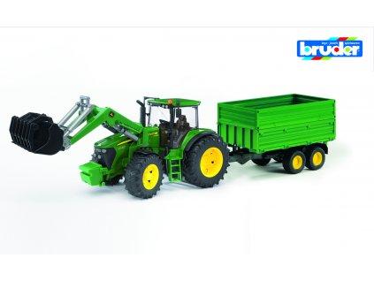 BRUDER 3055 Zelený TRAKTOR JOHN DEERE 7930 s valníkem