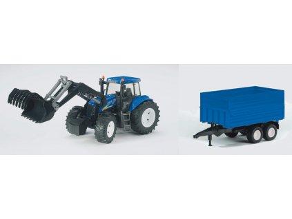 BRUDER 1993 Traktor New Holland T8040 s čel.nakl a vlekem
