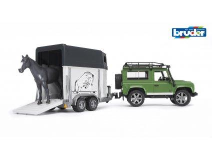 BRUDER 2592 Zelené AUTO LAND ROVER s přívěsem na koně