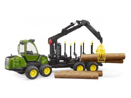BRUDER 2133 Zelený TRAKTOR JOHN DEERE 1210E lesní traktor s kládami