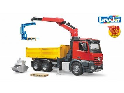 BRUDER 3651 Červeno žlutý VALNÍK S RAMENEM MB-AROCS