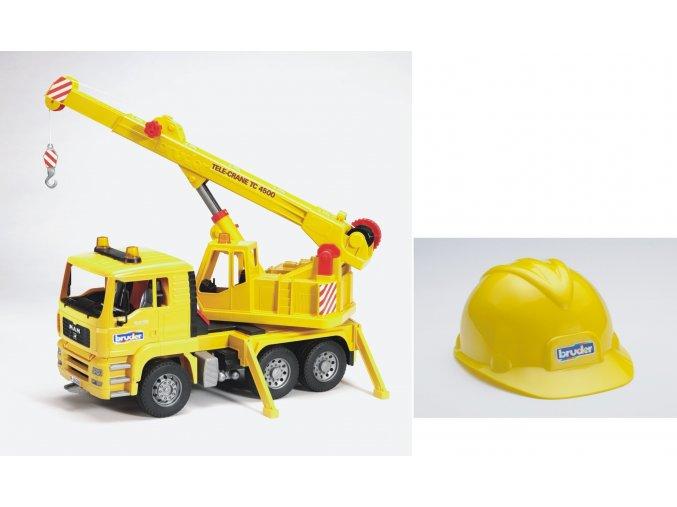 Nákl.auto MAN - jeřáb stavební + helma