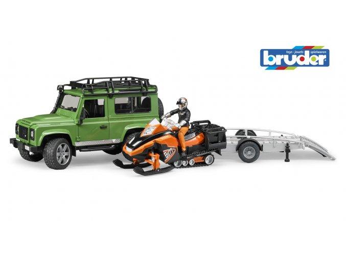 BRUDER 2594 Zelené AUTO LAND ROVER s přepravníkem sněžný skůtr a řidič