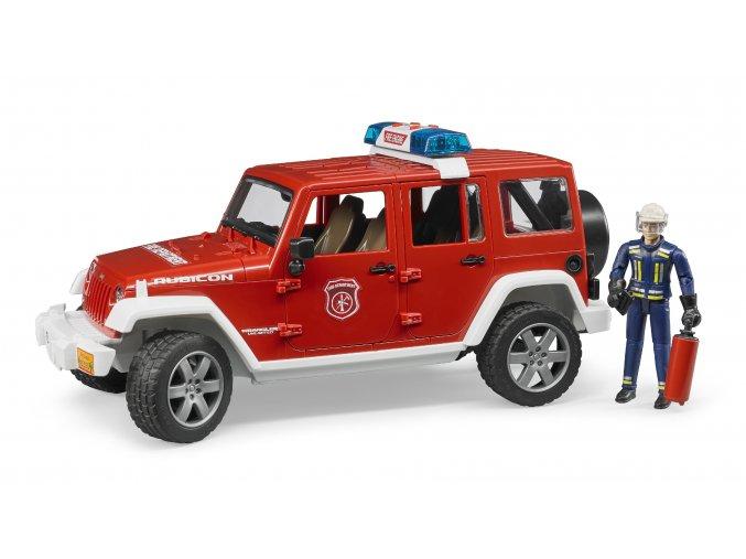 Červený požářní vůz Jeep Wrangler s figurkou hasiče značky Bruder - BR 02528
