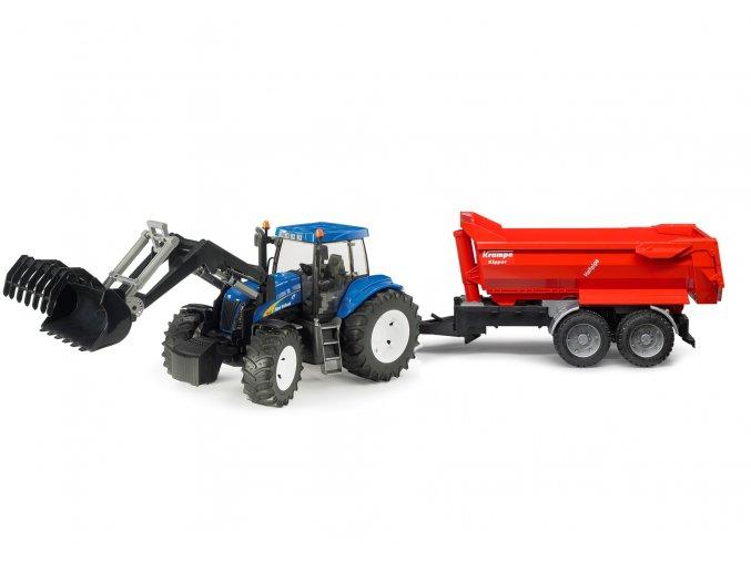 BRUDER 9035 Traktor New Holland T8040 s nakladačem a valnikem Krampe