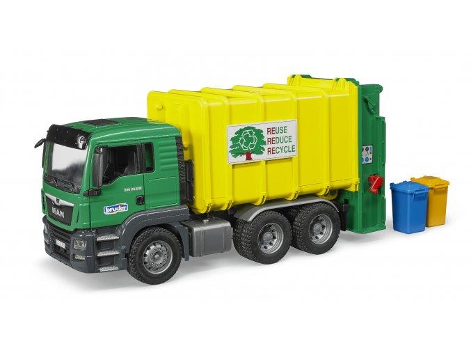 BRUDER 3764 Nákl. auto MAN TGS - popelář (zelený)