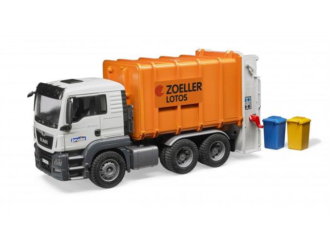 BRUDER 3762 Nákl. auto MAN TGS - popelář (oranžový)