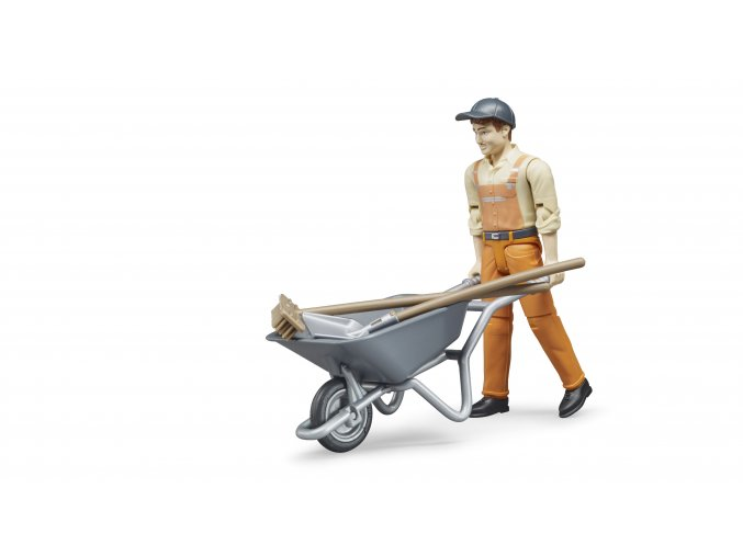 BRUDER 62130 Figurka - zametač s kolečkem
