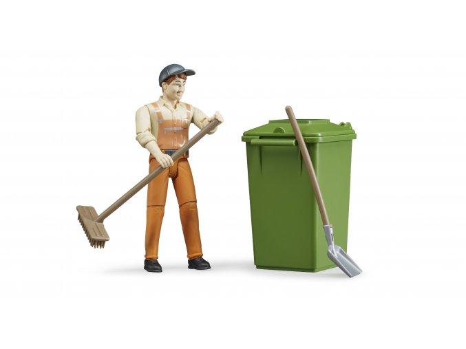 BRUDER 62140 Figurka - zametač s popelnicí