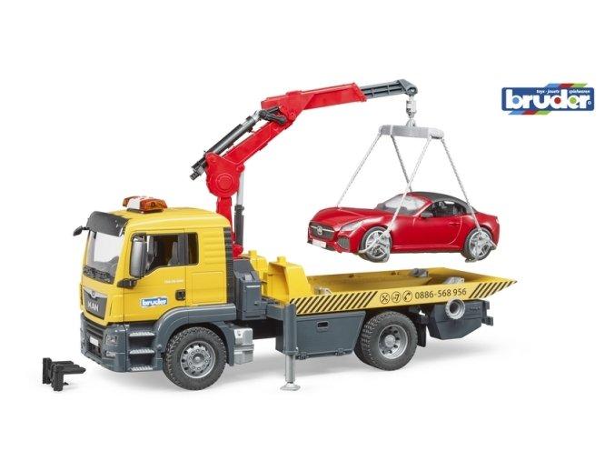 BRUDER 3750 Nákl. auto MAN TGS - odtahovka+osobní auto nové