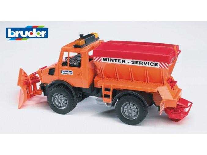 Oranžové AUTO MB Unimog sypač,zimní údržba značky Bruder - BR 02572