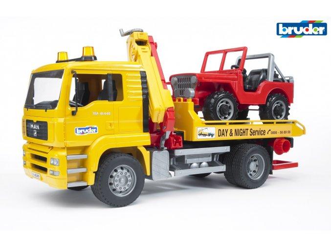 Žluté AUTO MAN TGA odtahovka značky Bruder - BR 02750