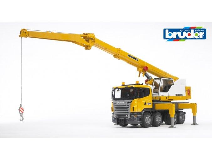 Žlutý JEŘÁB SCANIA R - LIEBHERR značky Bruder - BR 03570