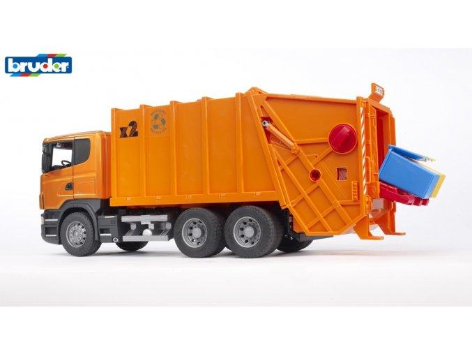 Oranžové AUTO SCANIA R POPELÁŘ  značky Bruder - BR 03560