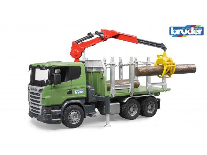 BRUDER 3524 Zelené AUTO SCANIA R přeprava dřeva