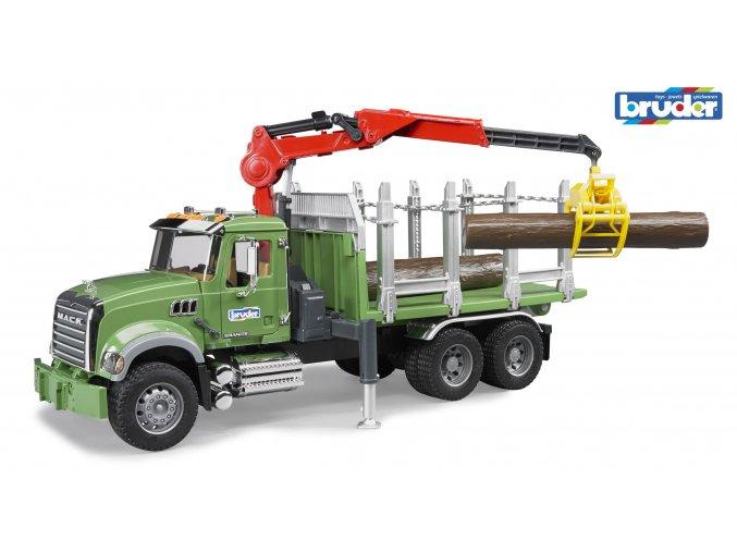 Zelené AUTO MACK Granite přeprava dřeva značky Bruder - BR 02824