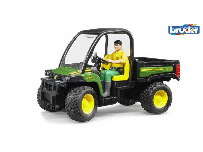 Zelené AUTO JOHN DEERE Gator XUV 855D s řidičem značky Bruder - BR 02490