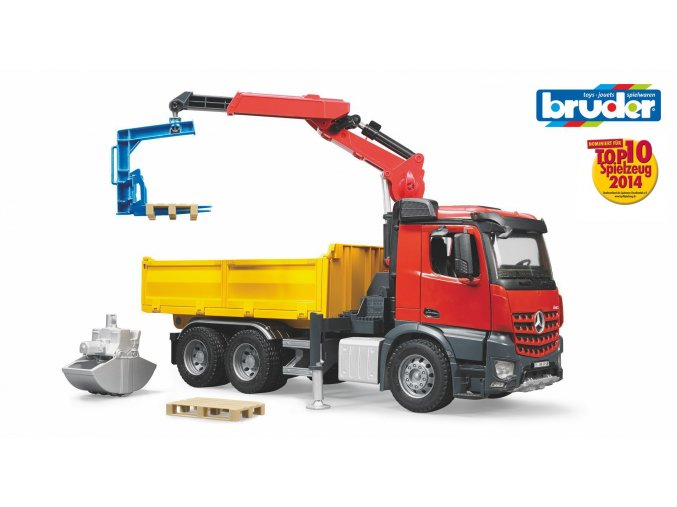 Červeno žlutý VALNÍK S RAMENEM MB-AROCS značky Bruder - BR 03651