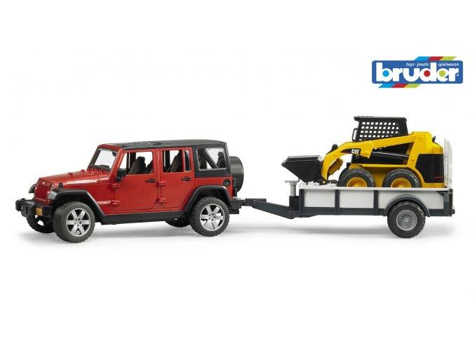 Červené AUTO JEEP s přívěsem a nakladačem CAT značky Bruder - BR 02925