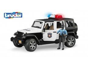 POLICEJNÍ AUTO JEEP WRANGLER RUBICON S FIGURKOU ZNAČKY BRUDER - BR 02526