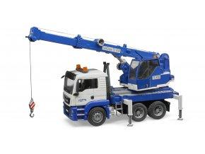 Modrý autojeřáb MAN TGS se světelným modulem  značky Bruder - BR 03770