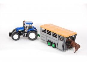 Traktor New Holland T8040 s přívěsem na dobytek + 1ks kráva
