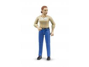BRUDER 60408 Figurka - žena,modré kalhoty