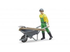 BRUDER 62610 Figurka - zemědělec s kolečkem a příslušenstvím