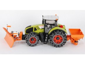 BRUDER 9039 Claas Axion 950 s řetězi a snežnou radlici a posypem