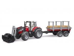 BRUDER 2046 Traktor Massey Ferguson 7480 + vůz na klády