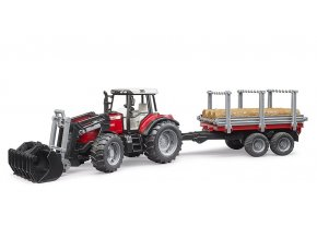 Traktor Massey Ferguson 7480 + vůz na klády