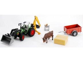 BRUDER 1041 Traktor Fendt 209S s příslušenstvím a vozíkem