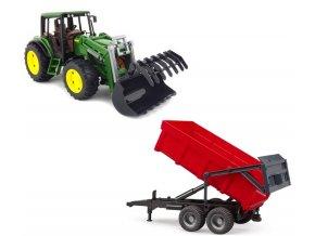 Traktor John Deere 6920 s nakladačem a červeným valníkem