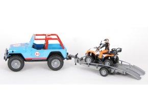 JEEP terénní modrý + přepravník se čtyřkolkou s řidičem