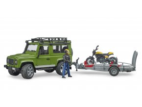 Land Rover Defender ,přepravník, figurka, motocykl