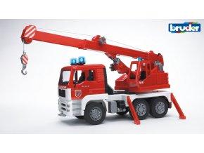 Červeno bílý JEŘÁB MAN TGA s majákem  značky Bruder - BR 02770