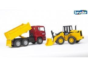 Červeno žlutá SKLÁPĚČKA MAN TGA s nakladačem značky Bruder - BR 02752