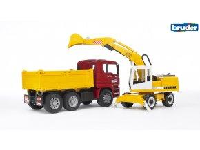 Červeno žlutá SKLÁPĚČKA MAN TGA s bagrem značky Bruder - BR 02751