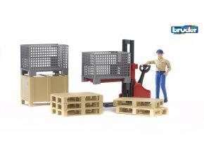 BRUDER 62200 Set logistika s figurkou a příslušenstvím