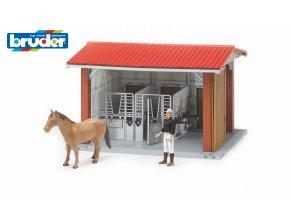 BRUDER 62520 Stáj pro koně s figurkou a koňem