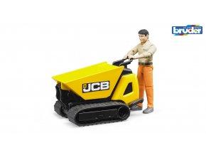 BRUDER 62004 Žlutý pásový PŘEPRAVNÍK JCB HTD-5 s figurkou