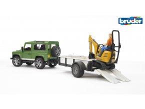 Zelené AUTO LAND DEFENDER s přívěsem a JCB mikrobagrem značky Bruder - BR 02593