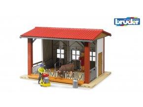 Stáj pro dobytek s figurkou a příslušenstvím značky Bruder - BR 62621