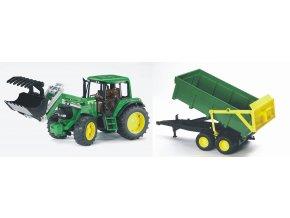 BRUDER 1134 Traktor John Deere 6920 s lžící a valníkem